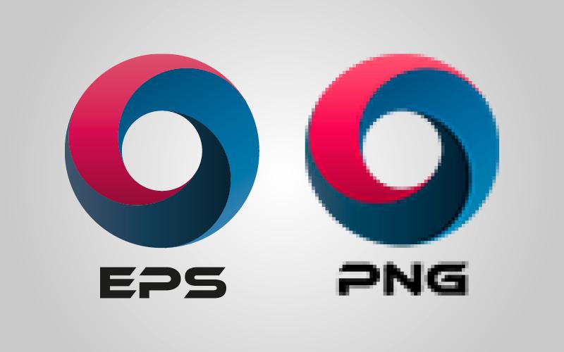 En bild med en vektoriserad logga, eps, och en rasterlogga, png. Eps:en är skarp men png-filen är pixlig.